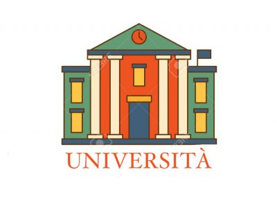 Building With Pillars University Flat Outlined Vector Design Logo With Text On White Background